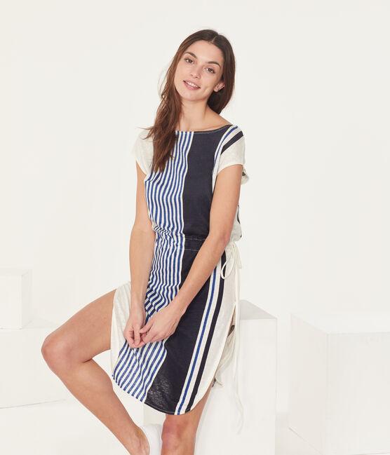 Women's linen short-sleeved dress Marshmallow white / Multico white