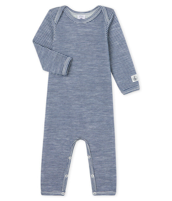 Babies' Long-Sleeved Bodysuit in Cotton/Wool Medieval blue / Marshmallow white