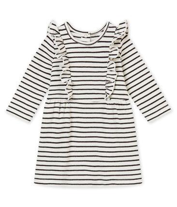 Baby girl's sailor stripe dress Marshmallow white / City black