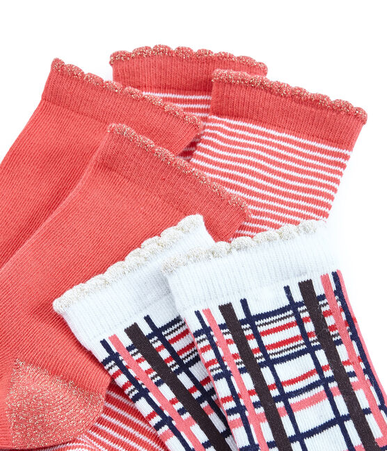 Girls' Socks - 3-Piece Set Signal red / Multico white