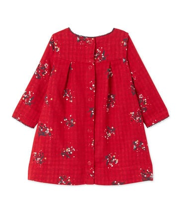 Baby girl's printed double knit dress Froufrou red / Multico white