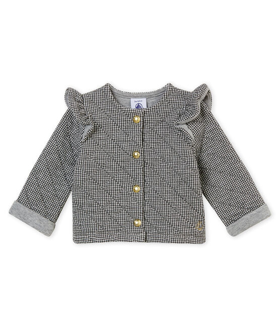 Baby girl's houndstooth cotton tubic cardigan Capecod grey / Marshmallow white
