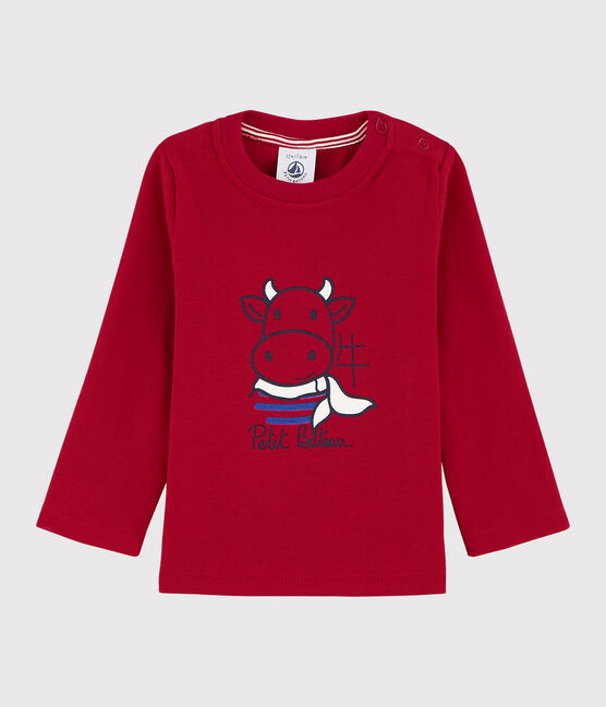 Baby Boys' Long-Sleeved Cotton T-shirt Terkuit red