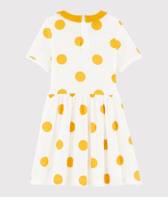 Girls' Ribbed Dress Marshmallow white / Boudor yellow