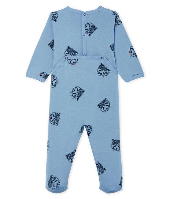 Baby Boys' Ribbed Sleepsuit Acier blue / Multico white