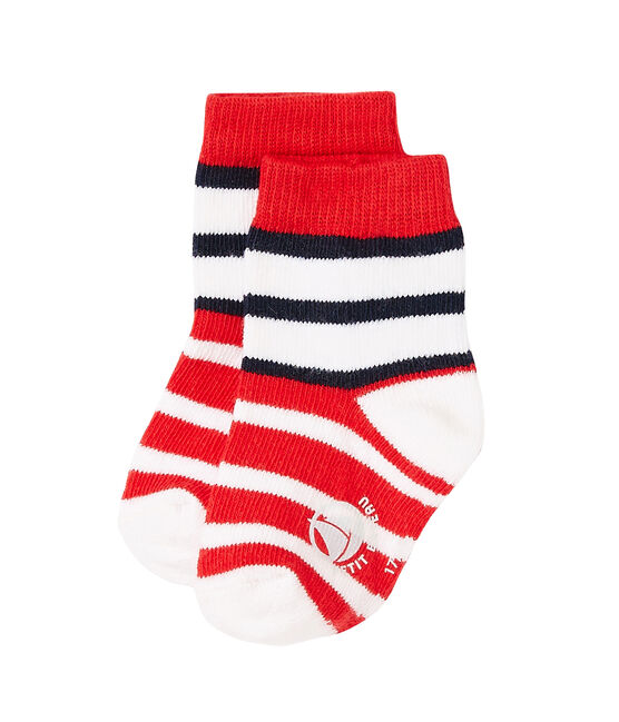 Baby boys' striped socks Peps red / Multico white