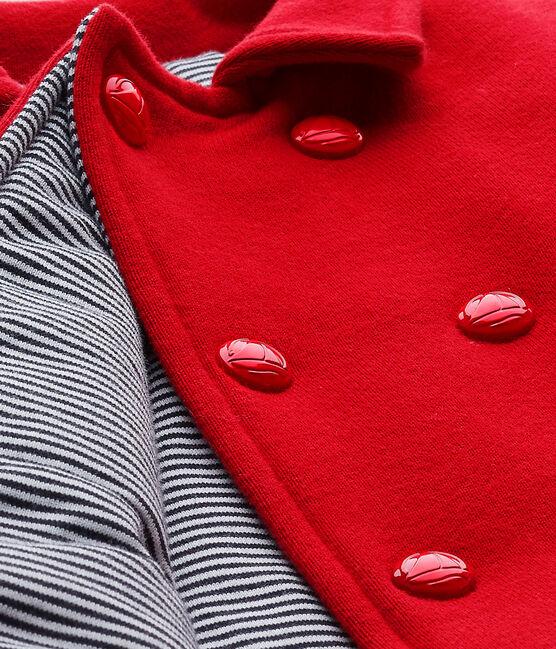 Unisex baby's pea jacket in fleece Terkuit red