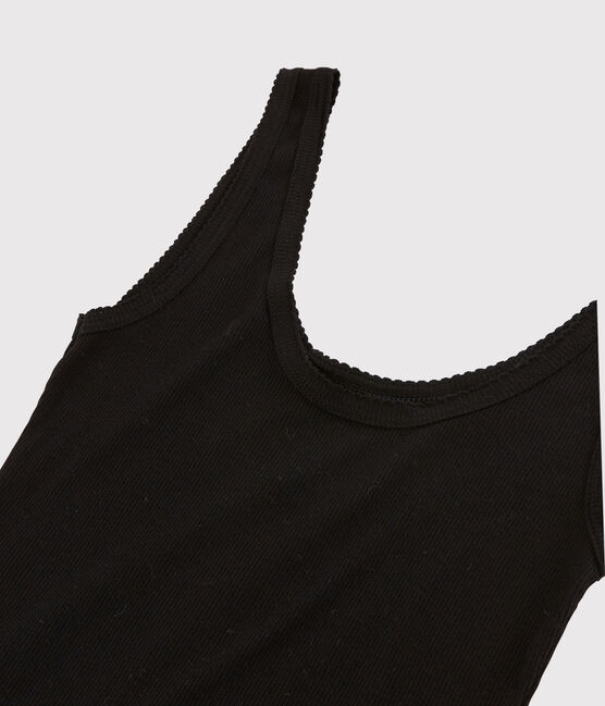 Women's wool and cotton blend tank top Noir black