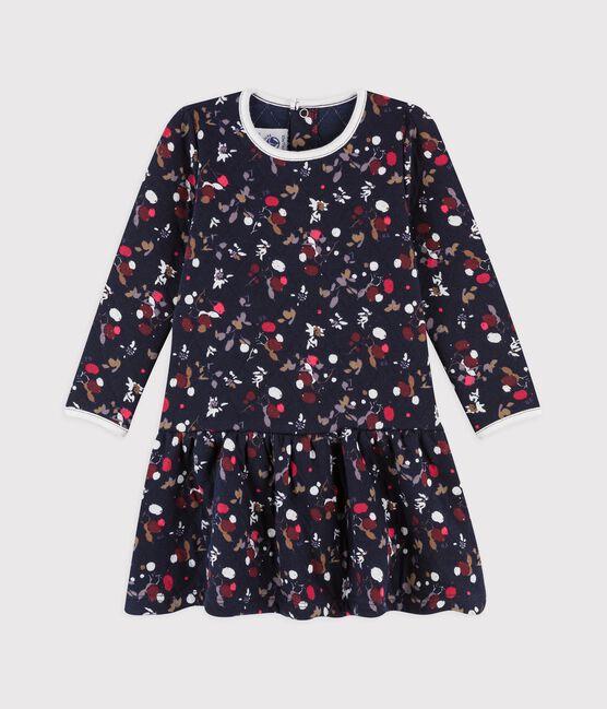 Babies' Long-Sleeved Cotton Dress. Smoking blue / Multico white