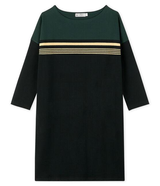 Women's Fashion Stripe Dress Noir black / Multico white