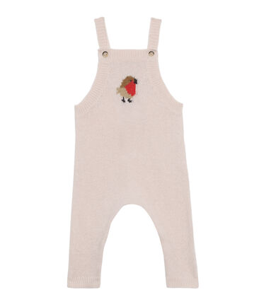 Baby Boys' Long Dungarees in Wool/Nylon/Alpaca Knit Fleur pink