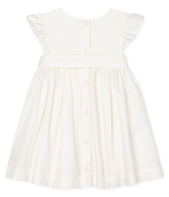 Baby Girls' Satin Short-Sleeved Dress Marshmallow white