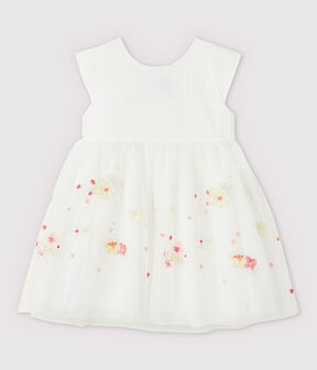 Baby Girls' Embroidered Tulle Formal Dress Marshmallow white / Multico white