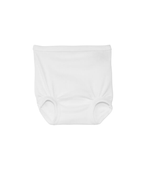 Baby plain cotton gathered pants Ecume white