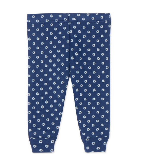 Baby girl's printed leggings Medieval blue / Multico white