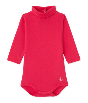 Baby roll neck bodysuit Flashy pink
