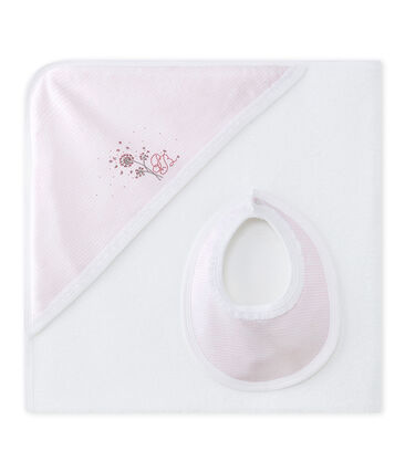 Baby girls' bath cape gift set