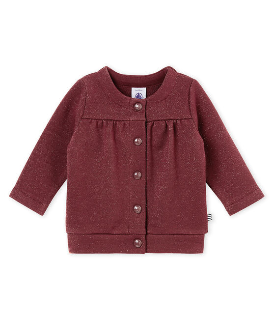 Baby girl's shiny cotton sweatshirt cardigan Ogre red / Dore yellow