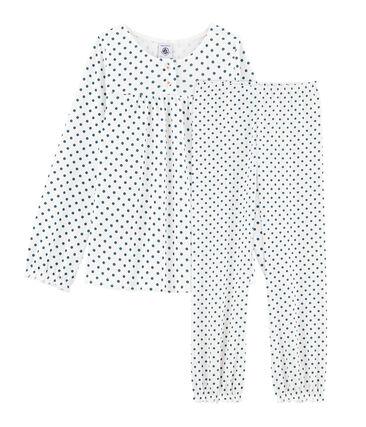 Girls' Ribbed Pyjamas Marshmallow white / Contes blue