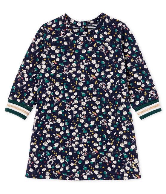 Baby Girls' Long-Sleeved Print Dress Smoking blue / Multico Cn white