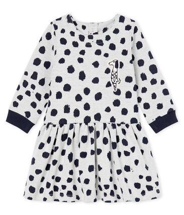 Baby Girls' Long-Sleeved Dress by Jean Jullien MARSHMALLOW/DOTTIES