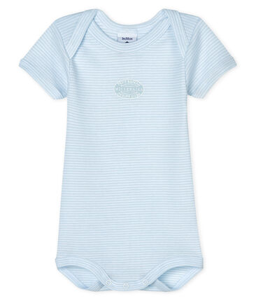Baby boys-girls' short-sleeved bodysuit Fraicheur blue / Ecume white