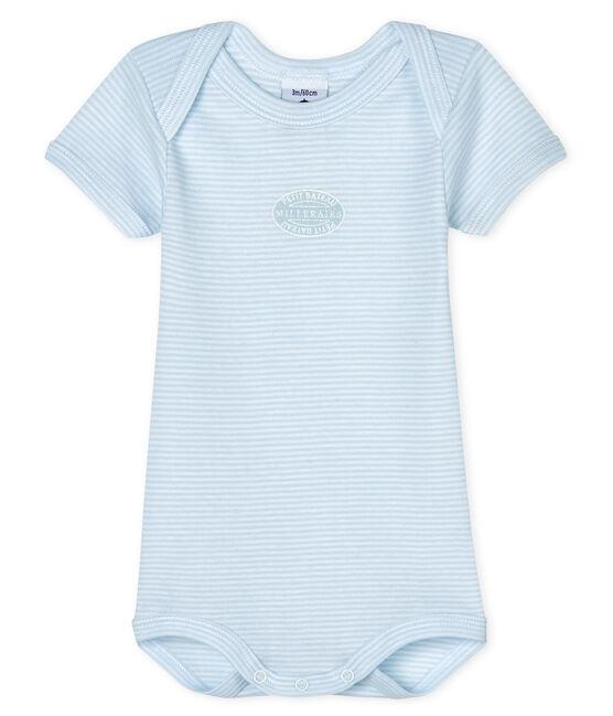 Baby boys-girls' short-sleeved bodysuit Fraicheur blue / Ecume white
