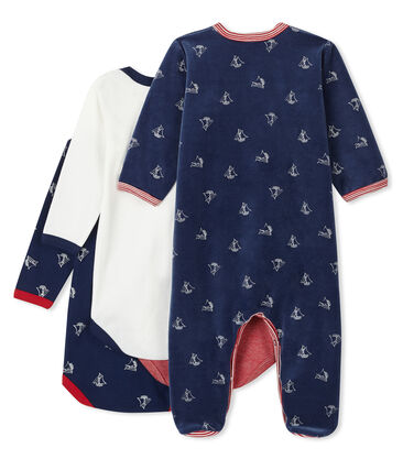 Baby Boys' Sleepsuit Set - Velour Sleepsuit and Long-Sleeved Ribbed Bodysuits
