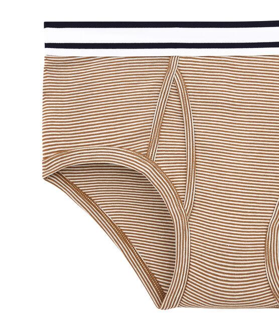 men's milleraie striped briefs Brindille brown / Marshmallow white