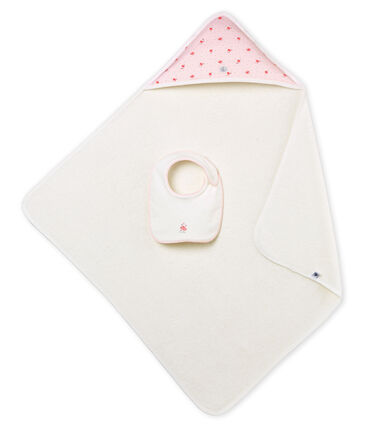 Baby girls' square bath towel and bib