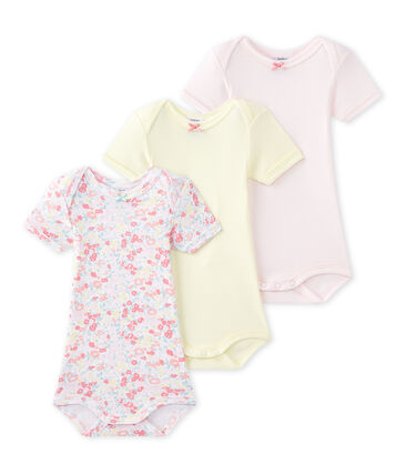 Set of 3 baby girls' short-sleeved bodysuits