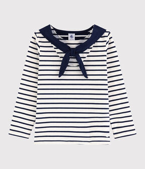 Girls' Long-sleeved Jersey T-shirt Marshmallow white / Smoking blue