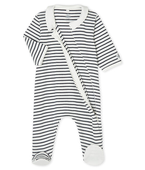Babies' Ribbed Zipped Sleepsuit Marshmallow white / Smoking blue