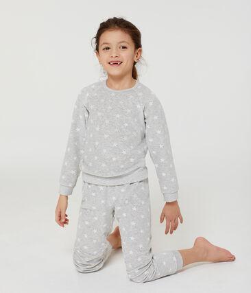 Girls' Velour Pyjamas Beluga grey / Marshmallow white