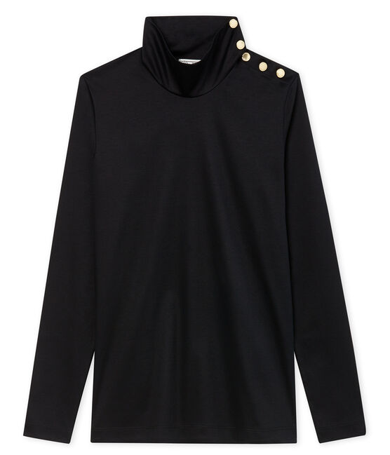 women's roll neck polo neck with buttons Noir black
