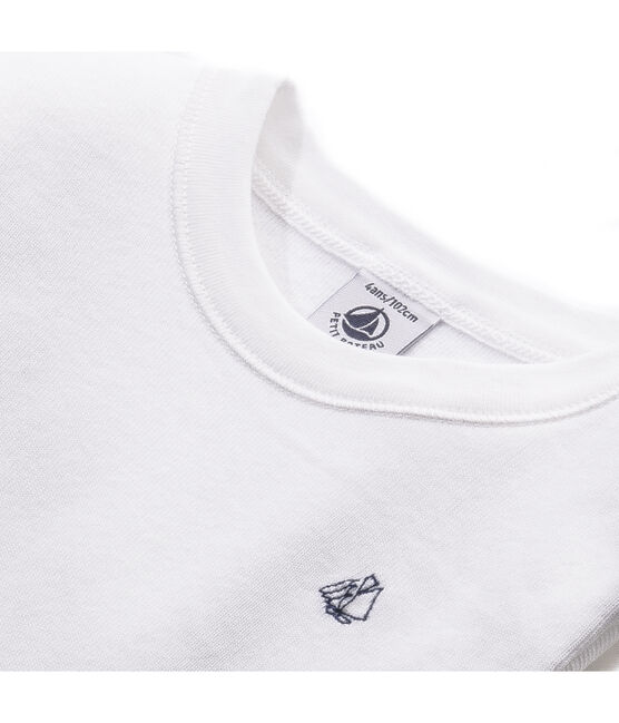 Boy's long-sleeved T-shirt in brushed cotton Ecume white