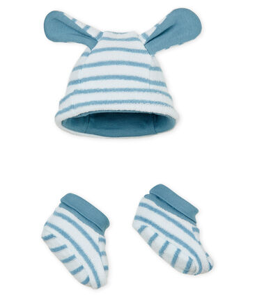 Unisex baby striped bonnet and bootees