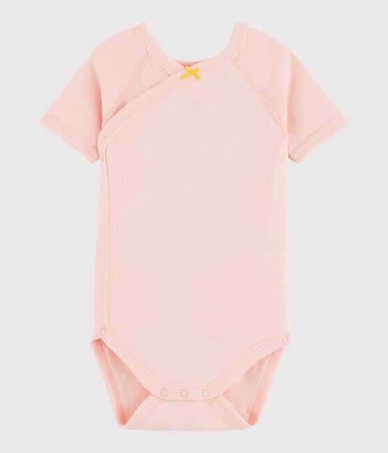 Baby Girls' Short-Sleeved Wrapover Bodysuit Minois pink