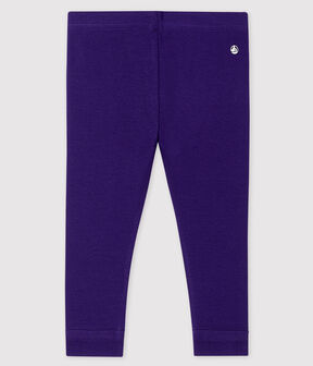 Baby girl's leggings in plain 1x1 rib knit ROXO