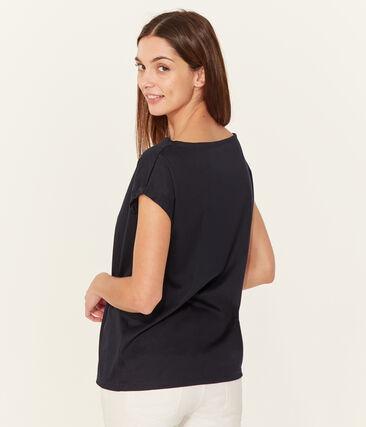 Women's short-sleeved sea island cotton t-shirt Marine blue