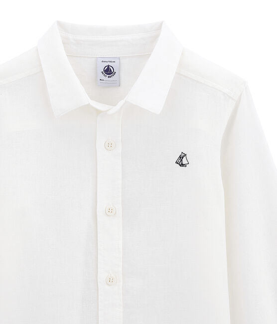 Boys' shirt in linen and cotton Lait white