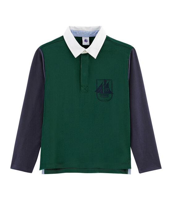 Boys' Rugby Polo Shirt Sousbois green / Smoking blue