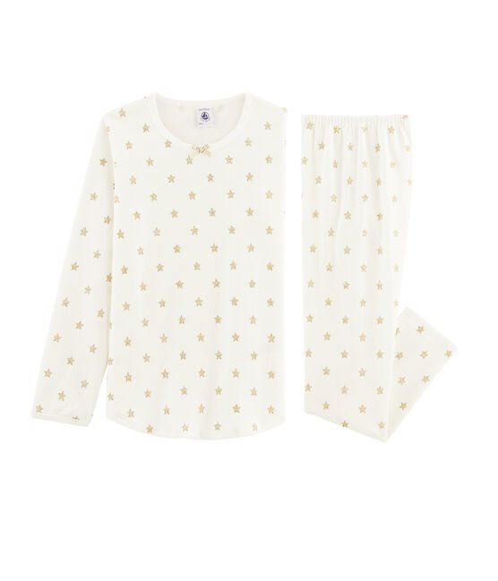 Girls' starry cotton pyjamas Marshmallow white / Or yellow