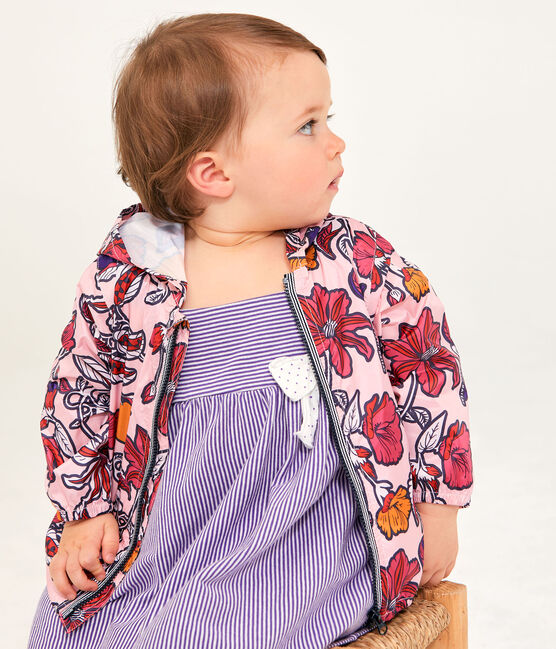 Unisex anti-UV UPF 50+ windbreaker for babies Patience pink / Multico white