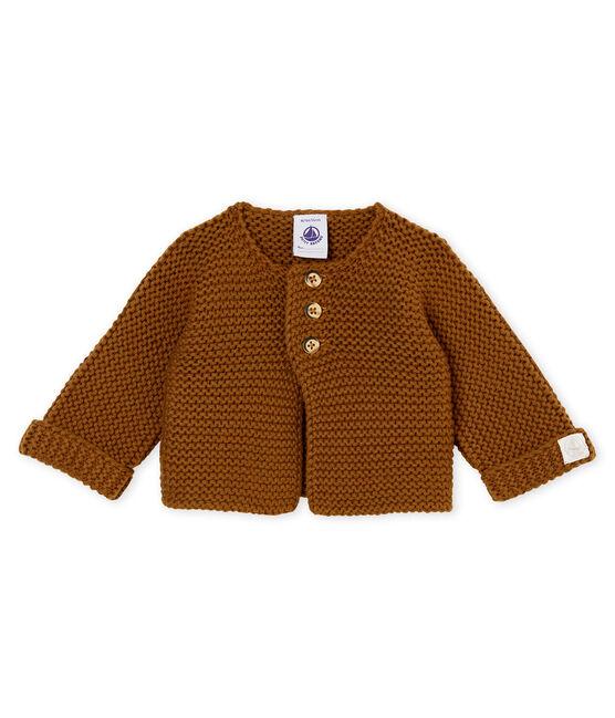 unisex baby's garter stitch cardigan Autumn brown