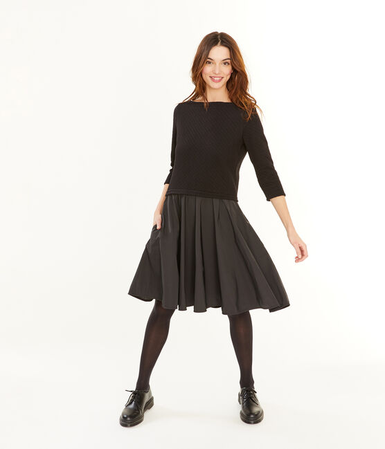 Women's Long-Sleeved Dual Material Dress Noir black