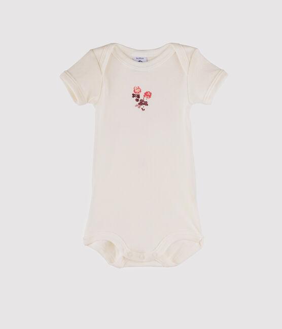 Baby Boys' Short-Sleeved Bodysuit Marshmallow white / Flashy pink