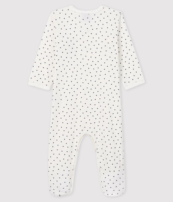 Baby Girls' Paris Ribbed Sleepsuit Marshmallow white / Medieval blue