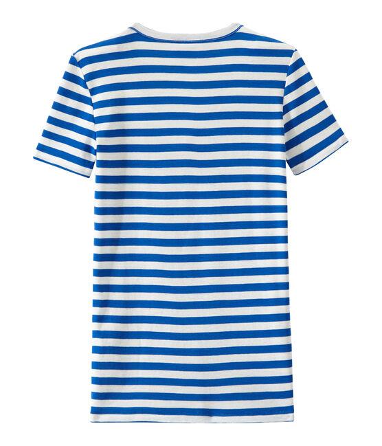 Women's striped original rib V-neck T-shirt Perse blue / Marshmallow white