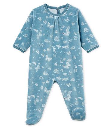 Baby Girls' Sleepsuit Fontaine blue / Marshmallow white